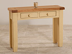 Phoenix Shabby Chic Rustic Oak and Painted 2 Drawer Console Table