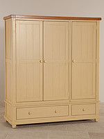 Phoenix Shabby Chic Rustic Oak and Painted Triple Wardrobe