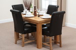 "Fresco 4ft x 2ft 6"" Solid Oak Dining Table + 4 Black Leather Braced Scroll Back Chairs"