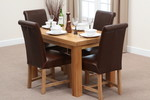 Fresco 4ft x 2ft 6&#34; Solid Oak Dining Table + 4 Brown Leather Braced Scroll Back Chairs