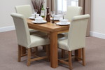 "Fresco 4ft x 2ft 6"" Solid Oak Dining Table + 4 Cream Leather Braced Scroll Back Chairs"