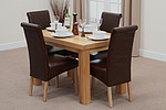 "Chunky 4ft x 2ft 6"" Solid Oak Dining Table + 4 Brown Scroll Back Leather Chairs"