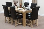 Fresco 5ft x 2ft 6&#34; Solid Oak Dining Table + 6 Braced Black Scroll Back Leather Chairs