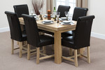 "Fresco 5ft x 2ft 6"" Solid Oak Dining Table + 6 Braced Black Scroll Back Leather Chairs"
