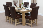"Fresco 5ft x 2ft 6"" Solid Oak Dining Table + 6 Braced Brown Scroll Back Leather Chairs"