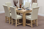 "Chunky 5ft x 2ft 6"" Solid Oak Dining Table + 6 Braced Cream Scroll Back Leather Chairs"