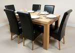 "Fresco 5ft x 2ft 6"" Solid Oak Dining Table + 6 Black Leather Chairs"