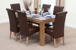 "Fresco 5ft x 2ft 6"" Solid Oak Dining Table + 6 Brown Leather Chairs"