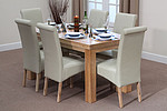 "Chunky 5ft x 2ft 6"" Solid Oak Dining Table + 6 Cream Leather Chairs"