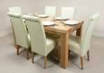 "Fresco 5ft x 2ft 6"" Solid Oak Dining Table + 6 Cream Leather Chairs"