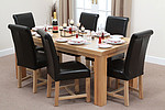Chunky 6ft x 3ft Solid Oak Dining Table + 6 Black Leather Braced Chairs