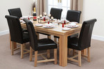 Fresco 6ft x 3ft Solid Oak Dining Table + 6 Black Leather Braced Chairs