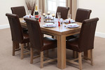 Fresco 6ft x 3ft Solid Oak Dining Table + 6 Brown Leather Braced Chairs