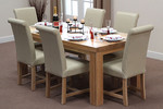 Fresco 6ft x 3ft Solid Oak Dining Table + 6 Cream Leather Braced Chairs