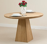 Solid Oak Round Table with Pyramid Base