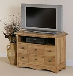 Cairo Solid Oak Corner TV + DVD Cabinet
