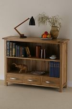 Newark Solid Oak Low Bookcase