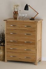 Newark Solid Oak 5 Drawer Chest