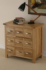 Newark Solid Oak 9 Drawer Storage Chest