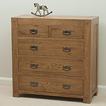 Quercus Rustic Solid Oak 2+3 Chest of Drawers