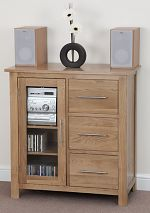 Rivermead Solid Oak 3 Drawer Glazed Media Cabinet
