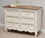 French Shabby Chic Solid Mango Wide 6 Drawer Chest