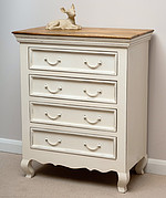 French Shabby Chic Solid Mango 4 Drawer Chest