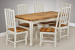 "French Shabby Chic Solid Mango 5ft 6"" x 3ft Dining Table + 6 French Shabby Chic Dining Chairs"