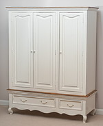French Shabby Chic Solid Mango Triple Wardrobe