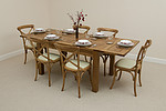 "4ft 7"" x 3ft Rustic Solid Oak Extending Dining Table + 6 Rustic Bistro Oak & Cream Leather Chairs"
