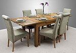 4ft 7&#34; x 3ft Rustic Solid Oak Extending Dining Table + 6 Sage Fabric Chairs