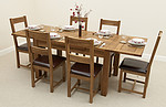 4ft 7&#34; x 3ft Rustic Solid Oak Extending Dining Table + 6 Rustic Solid Oak and Leather Dining Chairs