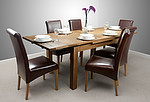 "4ft 7"" x 3ft Rustic Solid Oak Extending Dining Table + 6 Brown Leather Chairs with FREE Wall Mirror"