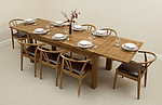 6ft x 3ft Rustic Solid Oak Extending Dining Table + 8 Round Solid Oak &#38; Black Leather Dining Chairs