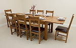 6ft x 3ft Rustic Solid Oak Extending Dining Table + 8 Rustic Solid Oak and Leather Dining Chairs
