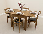 3ft x 3ft Solid Oak Rustic Extending Dining Set + 4 Rustic Bistro Oak &#38; Black Leather Dining Chairs