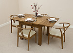 3ft x 3ft Solid Oak Rustic Extending Dining Set + 4 Cream Round Solid Oak and Leather Dining Chairs
