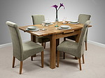 3ft x 3ft Solid Oak Rustic Extending Dining Set + 4 Sage Fabric Scroll Back Chairs