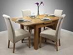3ft x 3ft Solid Oak Rustic Extending Dining Set + 4 Beige Fabric Scroll Back Chairs