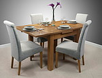 3ft x 3ft Solid Oak Rustic Extending Dining Set + 4 Light Grey Fabric Scroll Back Chairs