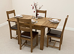 3ft x 3ft Solid Oak Rustic Extending Dining Set + 4 Rustic Oak & Leather Dining Chairs