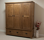 Rustic Solid Oak Triple Wardrobe