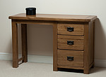 Rustic Solid Oak 3 Drawer Dressing Table 