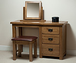 Rustic Solid Oak 3 Drawer Dressing Table, Stool and Mirror Set
