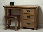 Rustic Solid Oak 3 Drawer Dressing Table and Stool Set