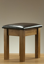 Rustic Solid Oak and Leather Dressing Table Stool