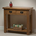 Rustic Solid Oak 2 Drawer Console Table