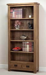 Rustic Solid Oak Large Bookcase