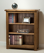 Rustic Solid Oak Wide Bookcase