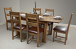 4ft 3&#34; x 3ft Rustic Solid Oak Extending Dining Table + 6 Oak Chairs